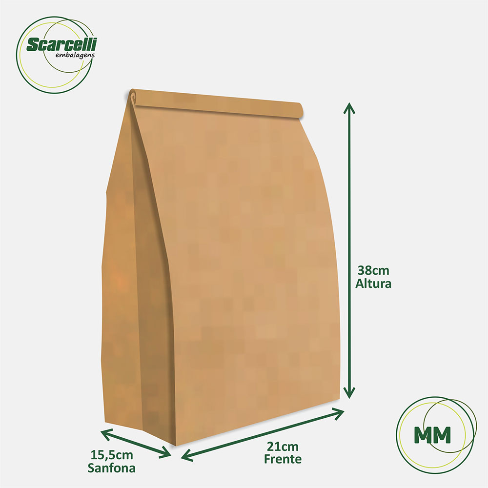 Saco Kraft Delivery MM - 100 unidades
