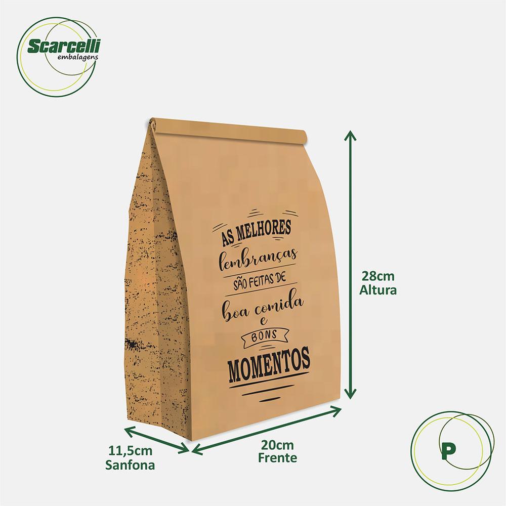 Saco Kraft Delivery P - As melhores Lembranças (mod 02) - 100 unidades