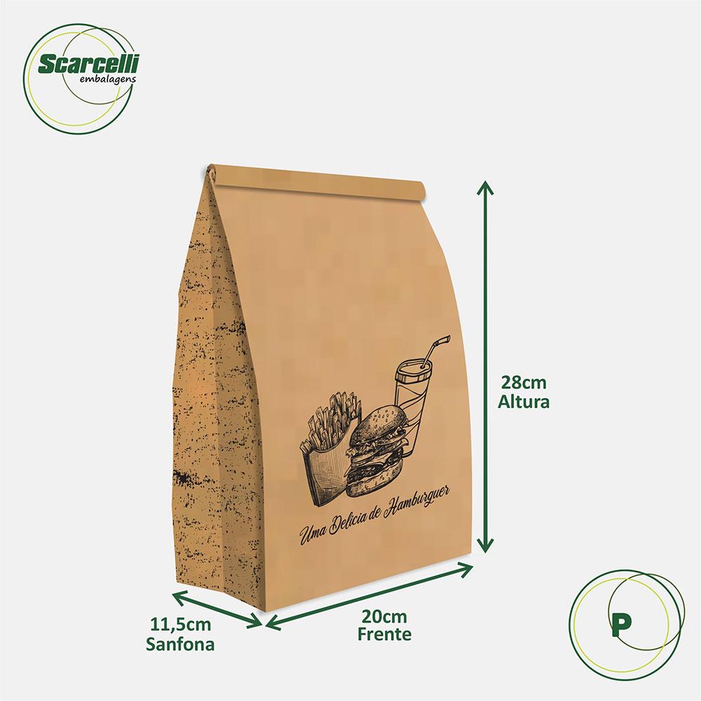 Saco Kraft Delivery P - Uma delícia de Hambúrguer (mod 01) - 100 unidades