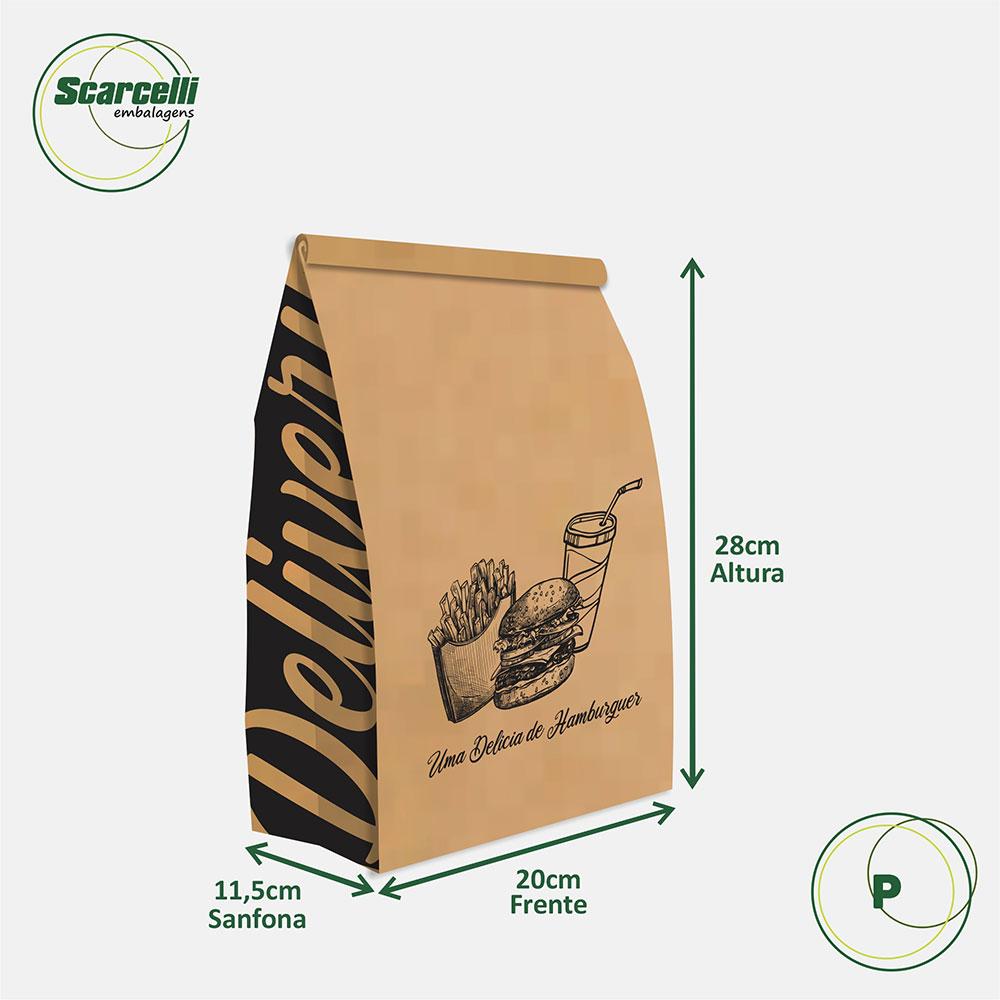 Saco Kraft Delivery P - Uma delícia de Hambúrguer (mod 03) - 100 unidades