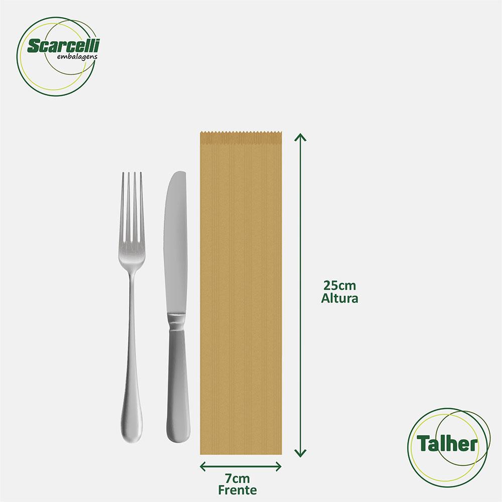 Saco kraft Pardo para Talher n° 01 - 1000 unidades