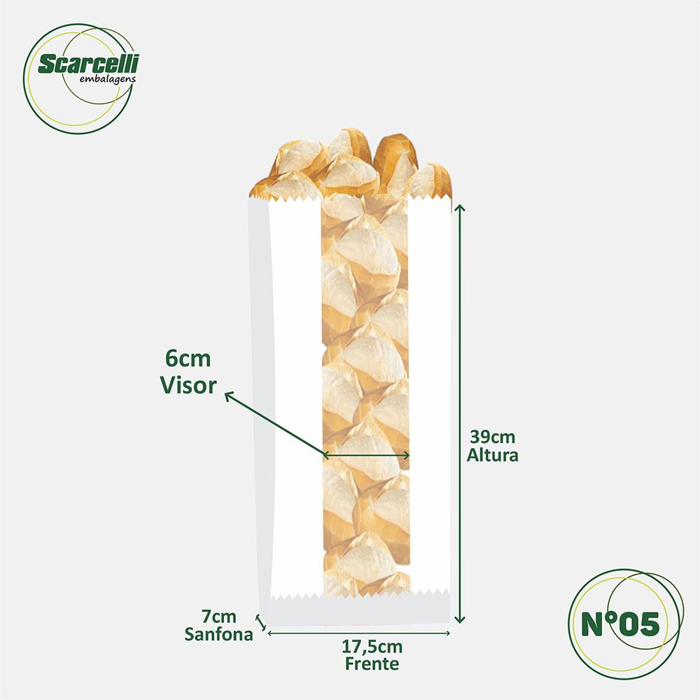 Saco Papel Kraft Branco com visor - impresso - Coma Pão. Pão é Saúde N°05 - 500 unidades