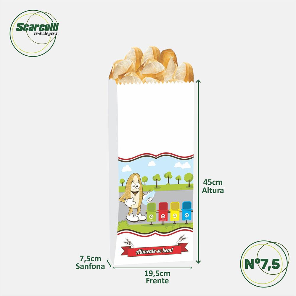 Saco Papel Kraft Branco com visor - impresso - Reciclar é Importante N° 7/5 - 500 unidades