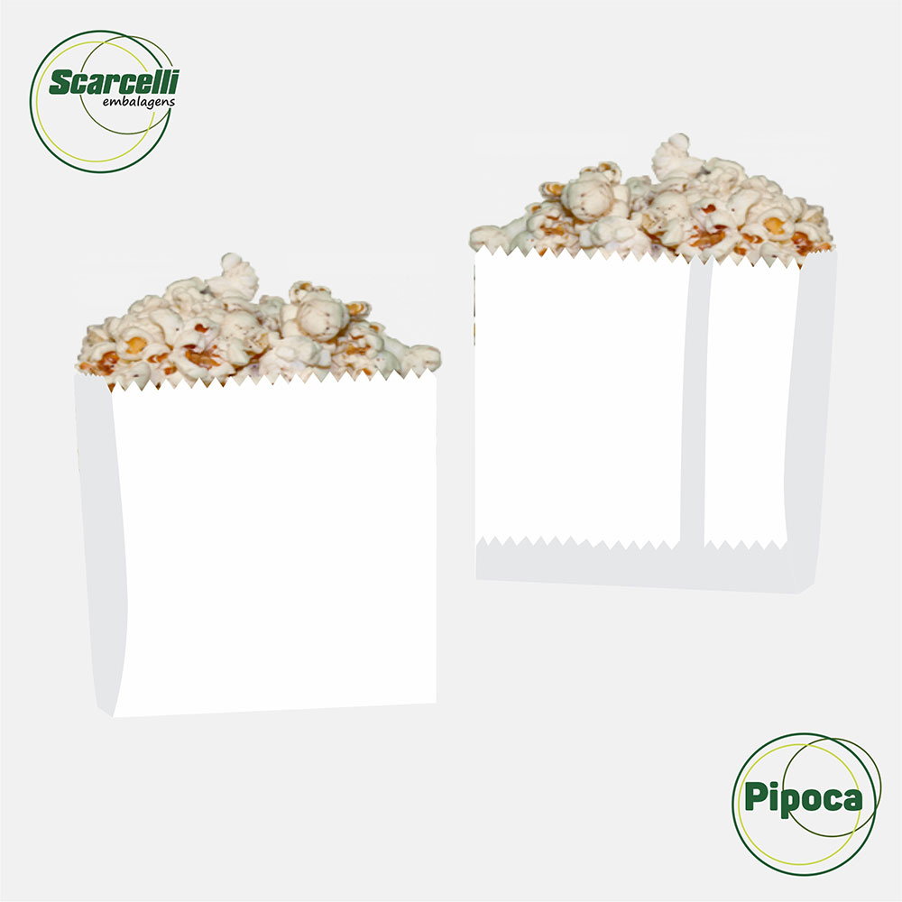 Saco Papel Kraft Branco para Pipoca N°01 - 1000 unidades
