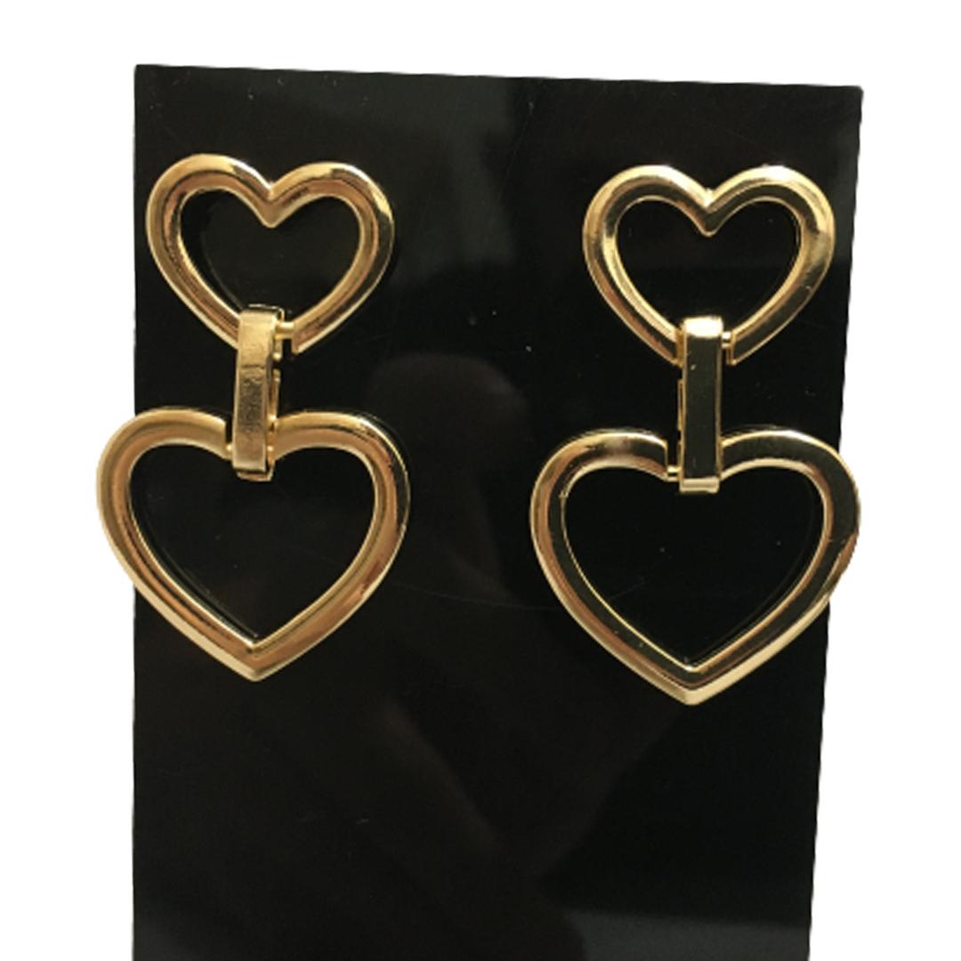 Brinco Acessório Feminino Duplo Argolas Coração Delicado cores Dourado e Prata