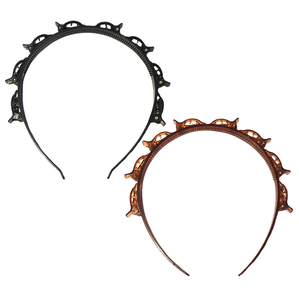 Kit 2 Tiara c/ Presilha Arco Cabelo Moda Hair Twister Penteado