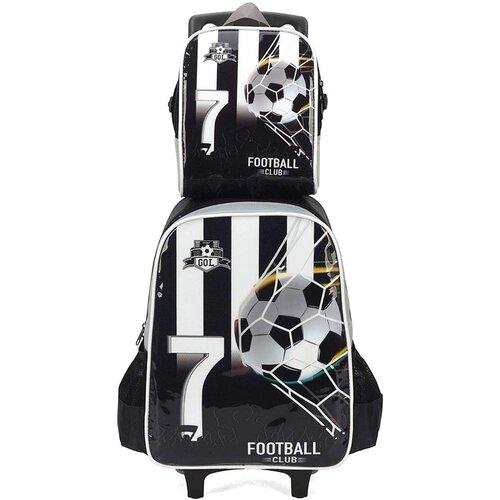 Kit Escolar Juvenil Mochila Rodinha + Lancheira Futebol Luxcel