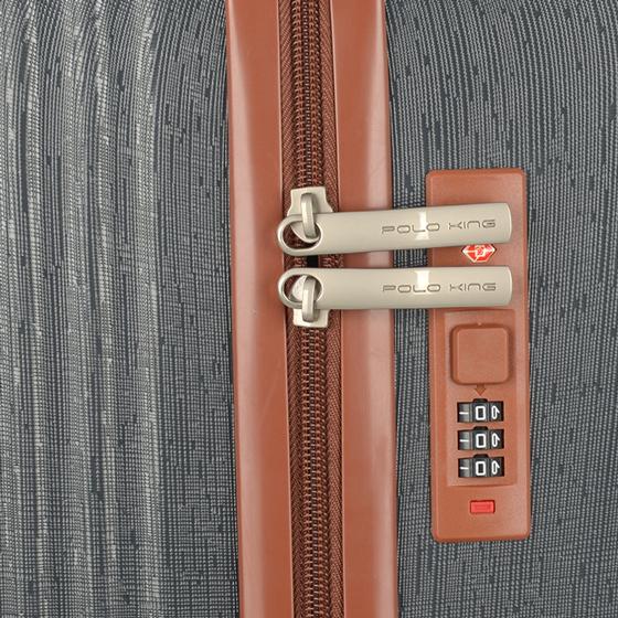 Kit Jogo 3 Malas de Viagem Polo King Georgia ABS Resistente Cadeado