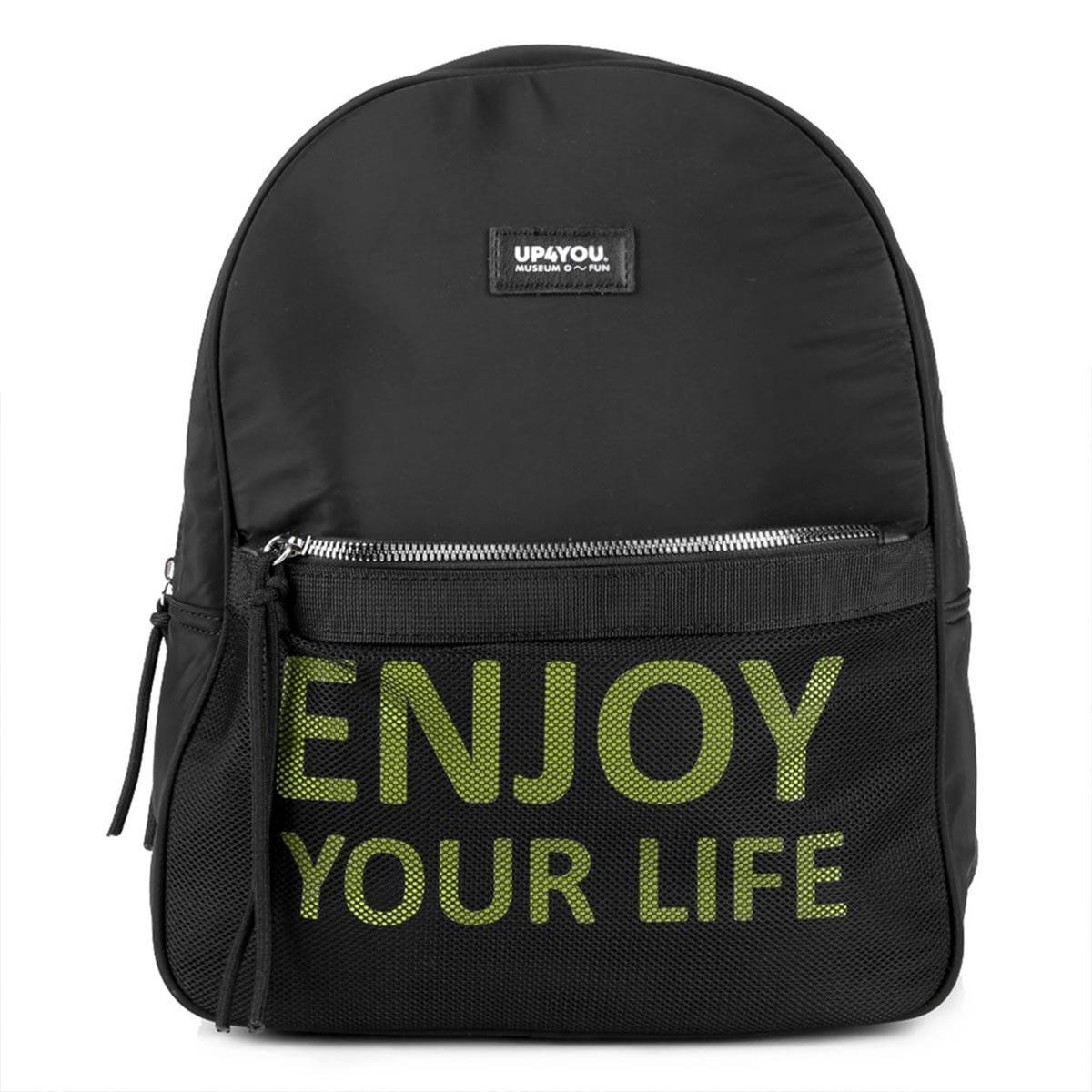 Mochila Feminina Bolso Frontal Estampa Frase Enjoy Your Life