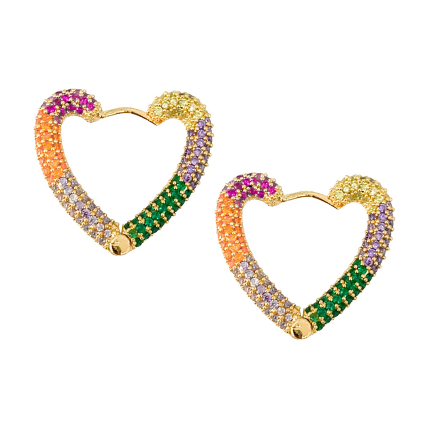 Par de Brinco Argola Pedras Microzircônia Color Coração