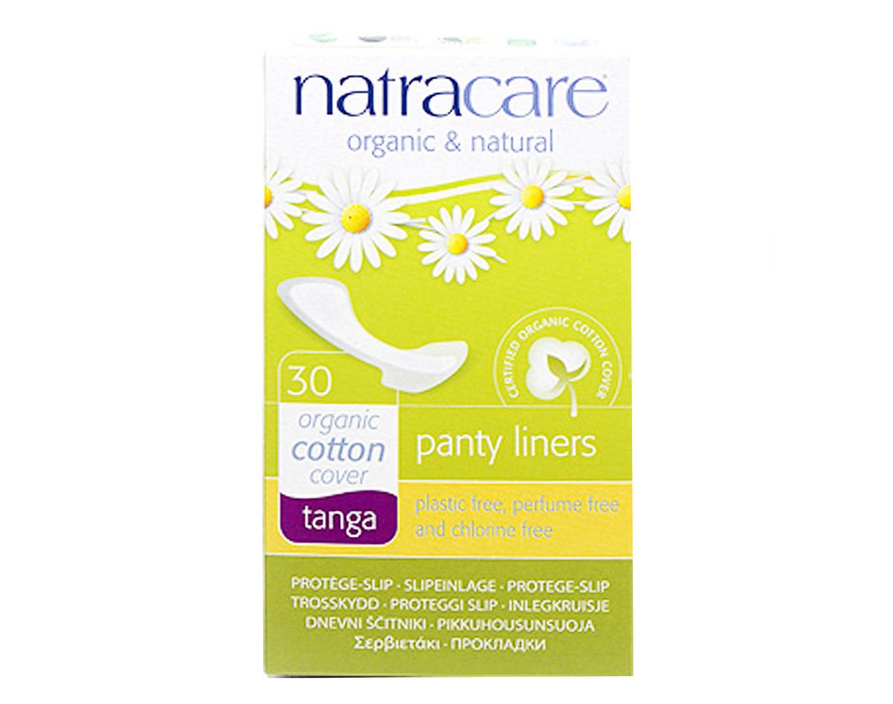 Absorvente diário orgânico com abas Natracare Tanga com 30 absorventes