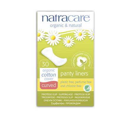 Absorvente diário orgânico sem abas Natracare Curved com 30 absorventes