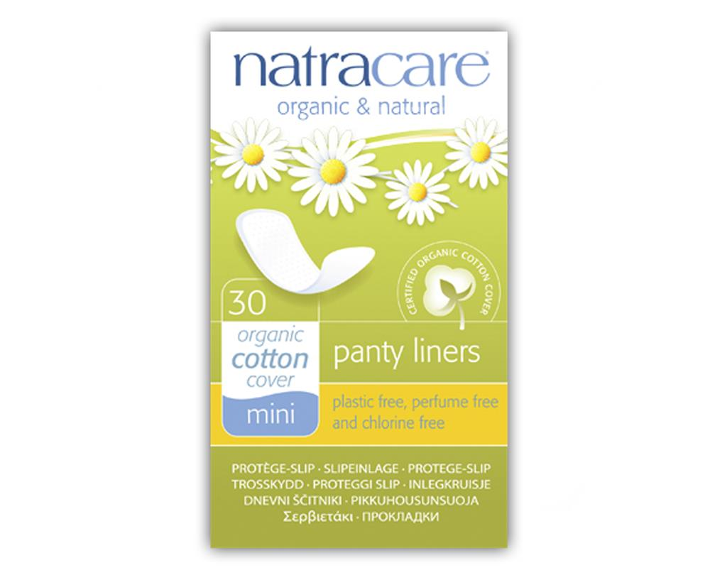 Absorvente diário orgânico sem abas Natracare Mini com 30 absorventes