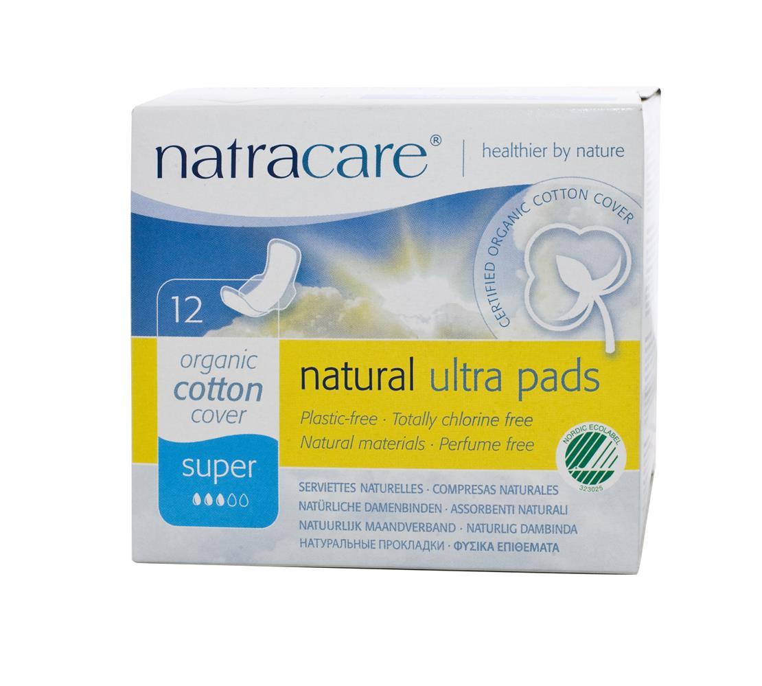 Absorvente orgânico Natracare Super com abas Ultra Pads com 12 absorventes