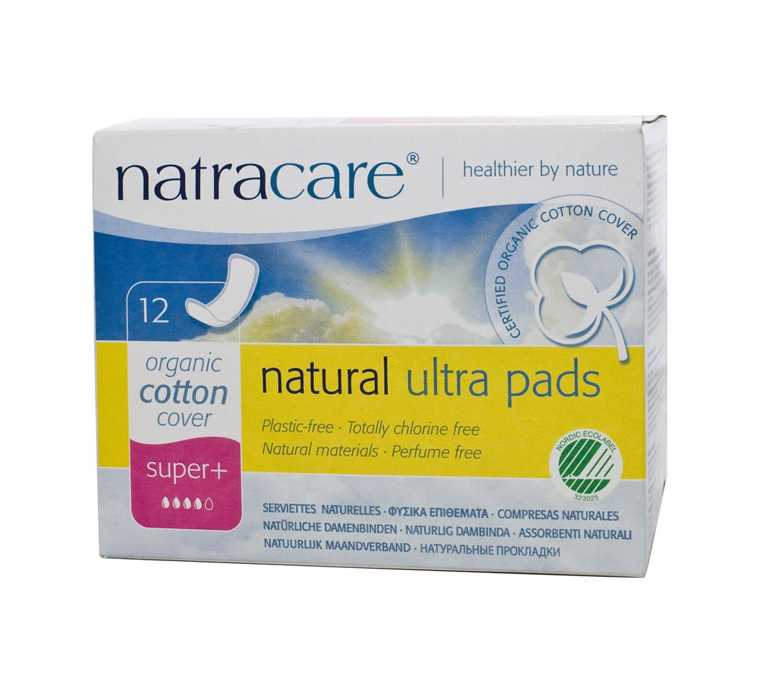 Absorvente orgânico Natracare Super Plus sem abas Ultra Pads com 12 absorventes