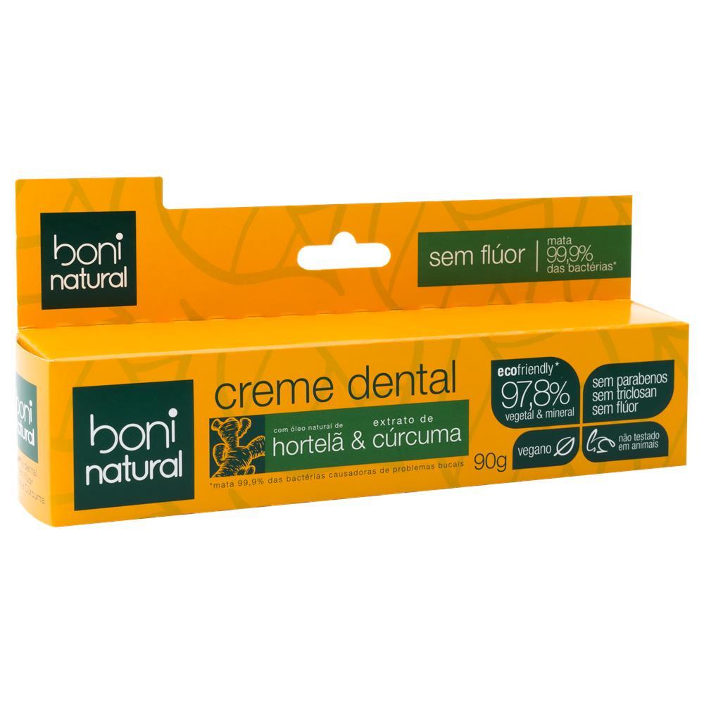 Creme Dental Natural e Vegano Hortelã e Cúrcuma Boni 90 g