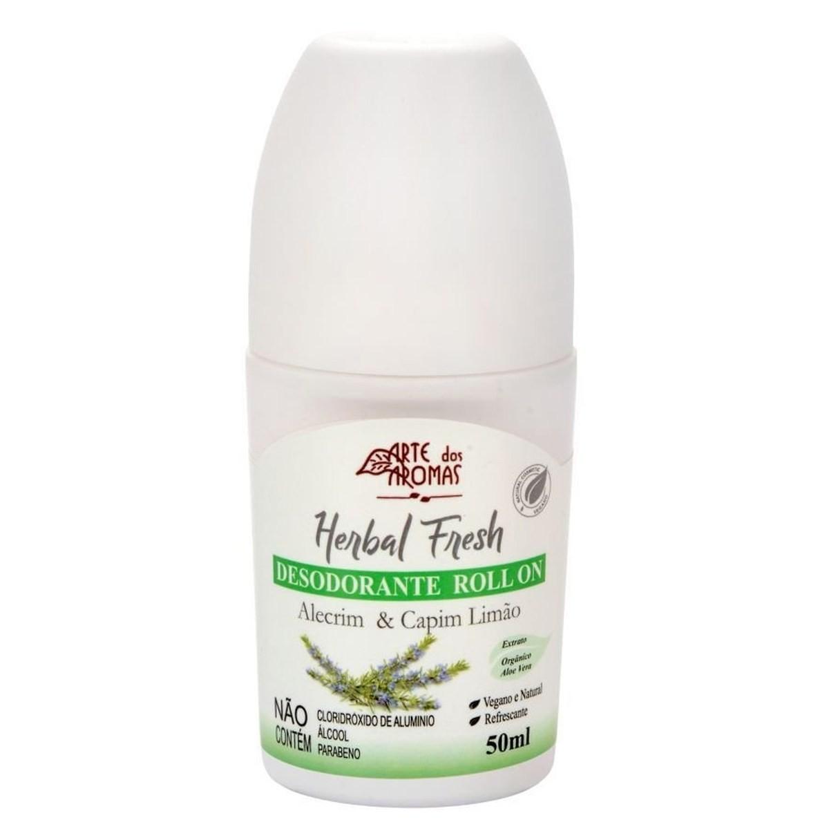Desodorante Roll on Herbal Fresh Natural e Vegano Arte dos Aromas 50ml