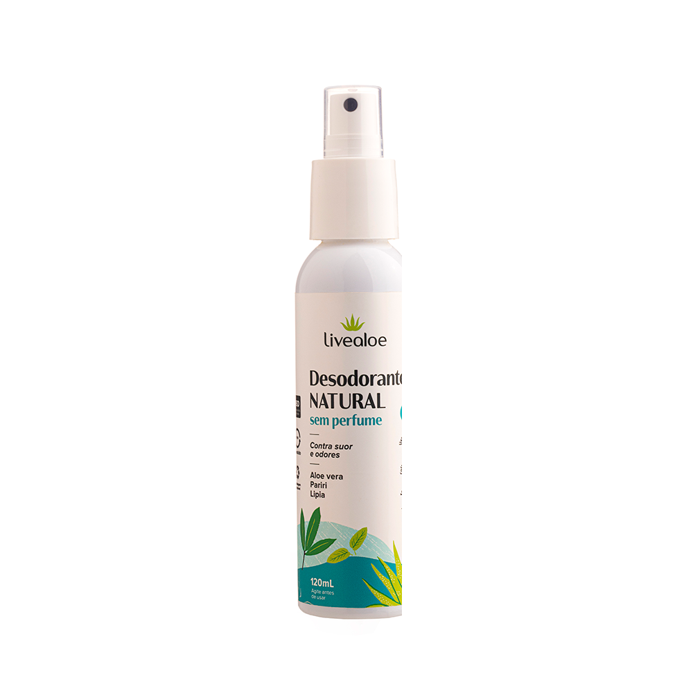 Desodorante Sem Perfume Natural e Vegano Livealoe 120 ml