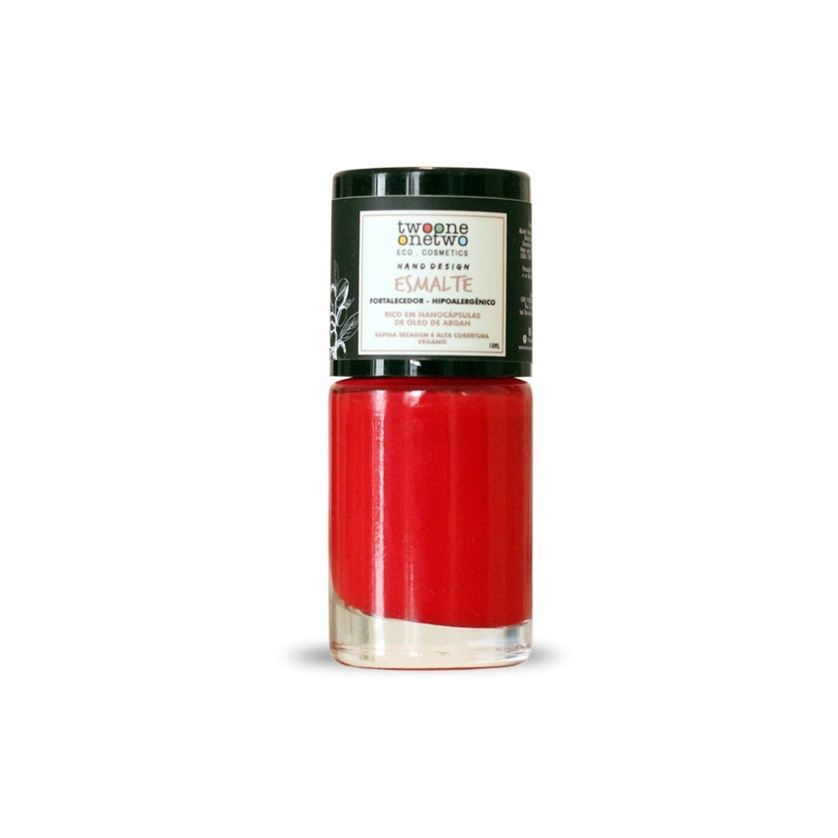 Esmalte Natural e Vegano Hipoalergênico e Fortalecedor Poppy Red TwoOne OneTwo 10 ml