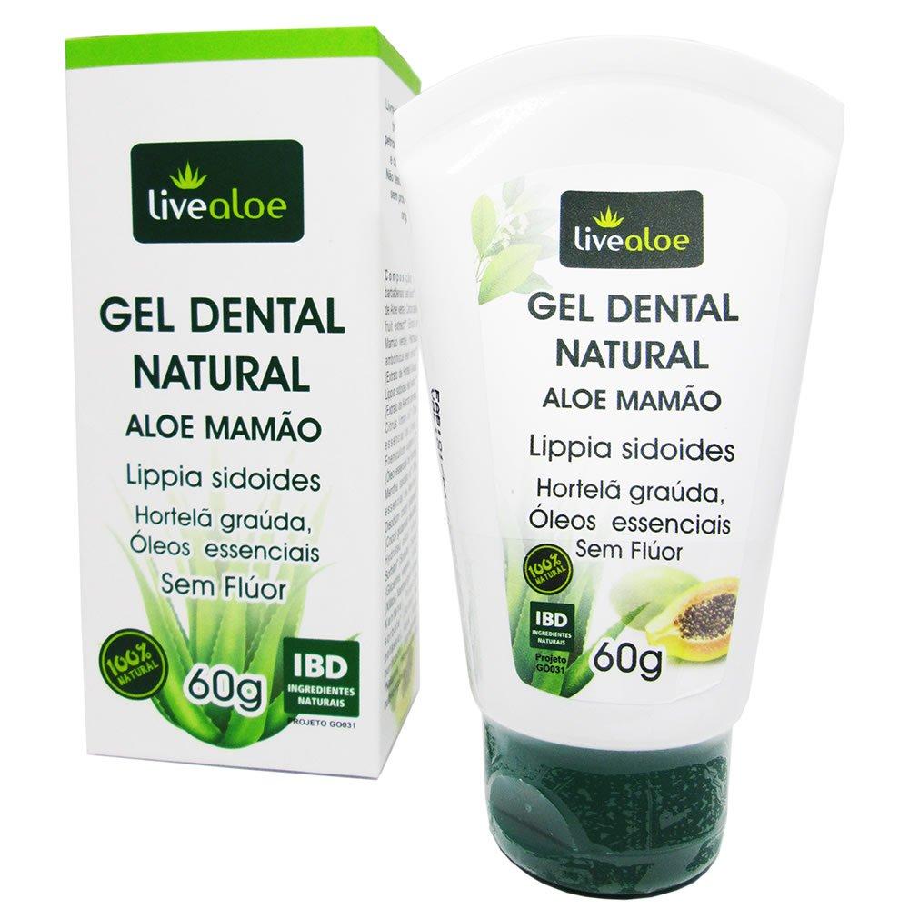 Gel Dental Natural e Vegano Aloe e Mamão Livealoe 60 g