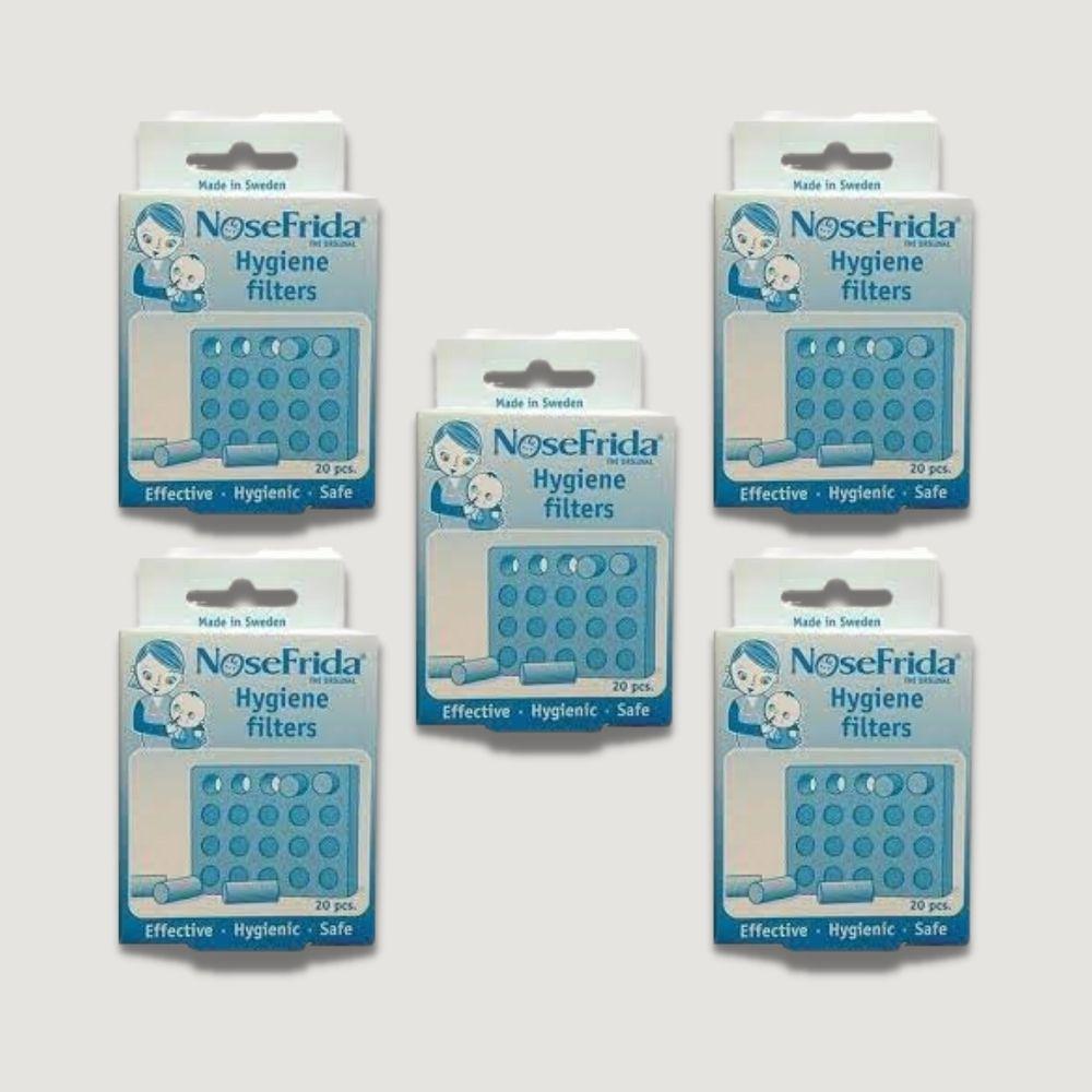 Kit 05 Refil Filtros Para Sugador Nasal Nosefrida ® 20 Unidades