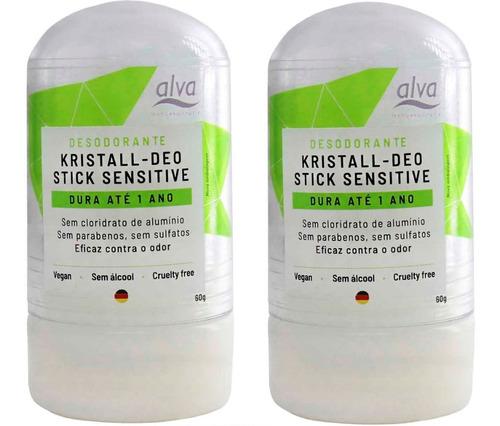 Kit 2 Desodorante Alva Cristal Natural Vegano Sem Alumínio 60g