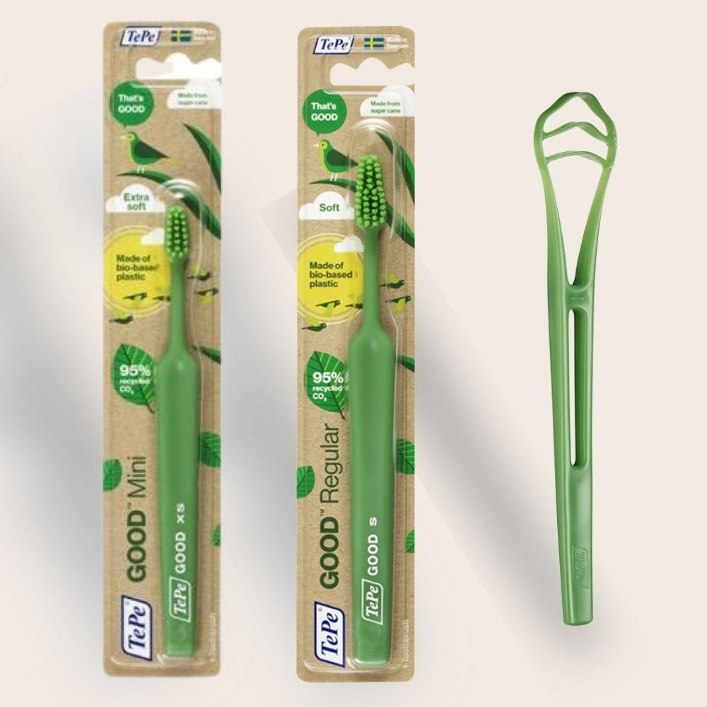 Kit 2 Escova Dental Ecológica + 1 Limpador Lingua Tepe