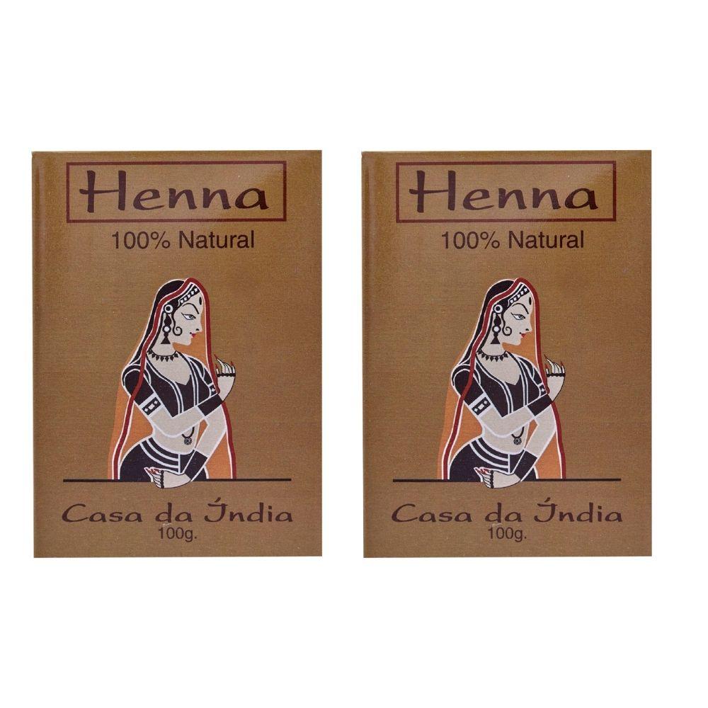 Kit 2 Henna Indiana P/ Cabelo Casa Da Índia 100% Natural