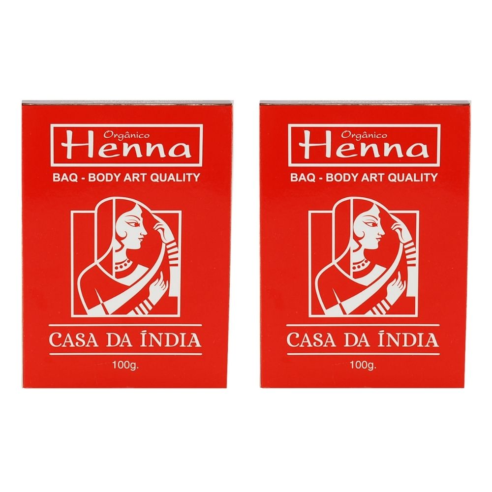 Kit 2 Henna Tatuagem Indiana Baq - Body Art Quality Casa Da Índia