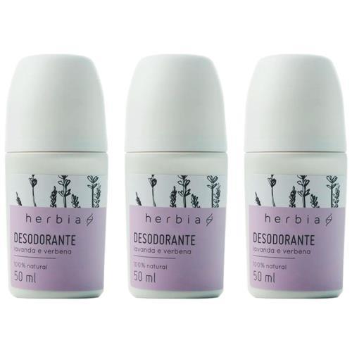 Kit 3 Desodorante Roll-on Sem Alumínio Vegano Lavanda Herbia 50 ml
