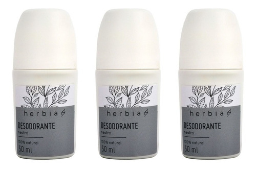 Kit 3 Desodorante Roll-on Sem Alumínio Vegano Neutro Herbia 50 ml