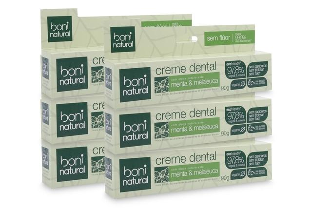 Kit 6 Creme Dental Sem Flur Vegano 90g Boni Natural