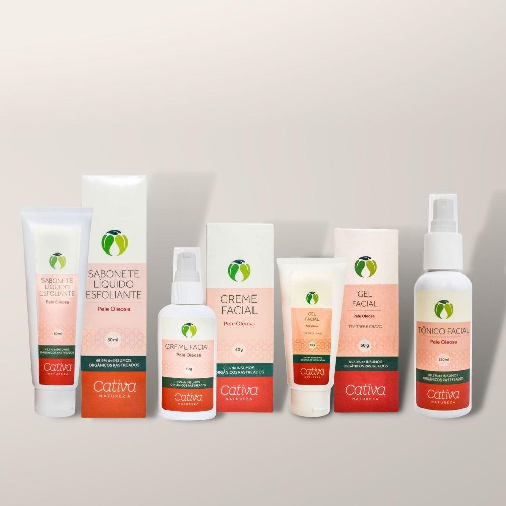 Kit Facial Completo Pele Oleosa Cativa Natureza (4 produtos)