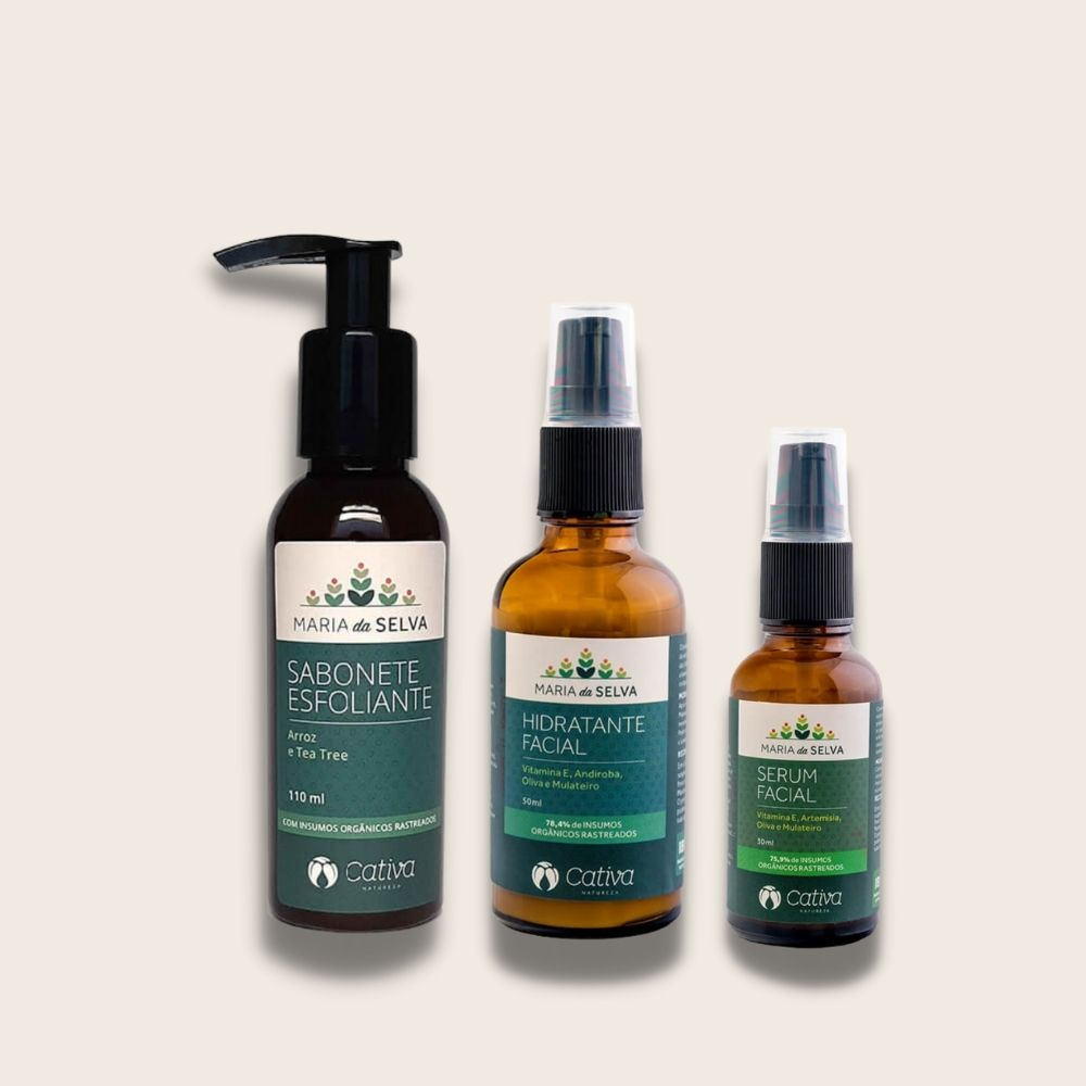 Kit Facial Maria da Selva Serum+Sabonete+Hidratante Cativa Natureza