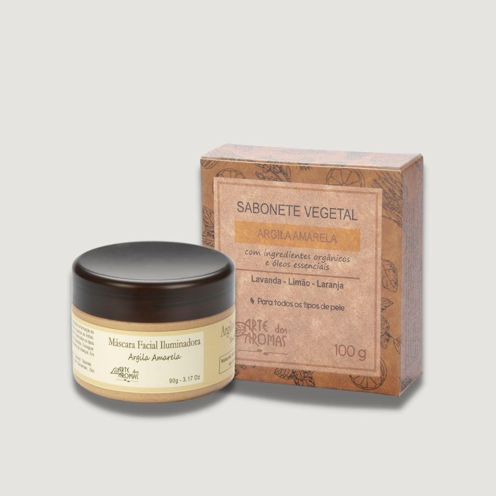 Kit Mascara Iluminadora e Sabonete Argila Amarela Arte dos Aromas