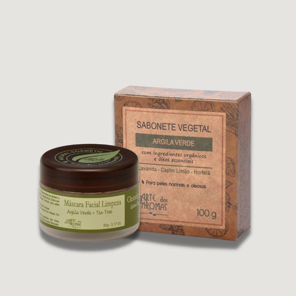 Kit Mascara Limpeza Facial e Sabonete Argila Verde Arte dos Aromas