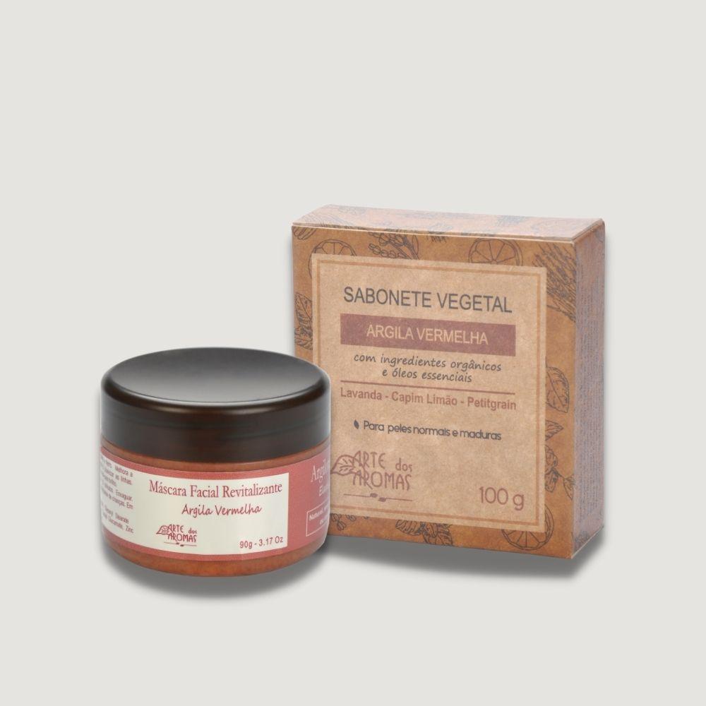 Kit Mascara Revitalizante e Sabonete Argila Vermelha Arte dos Aromas