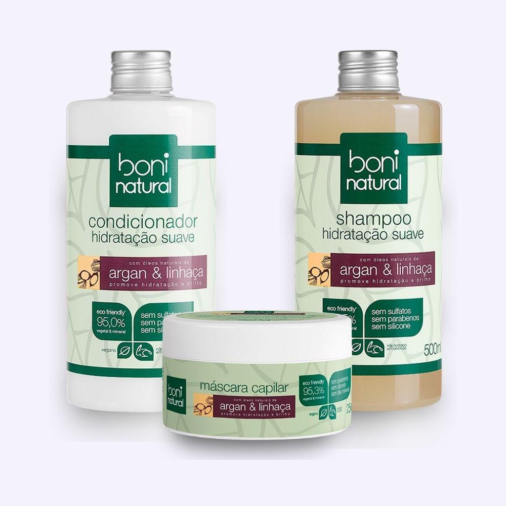 Kit Shampoo + Condicionador + Mascara Capilar Boni Natural