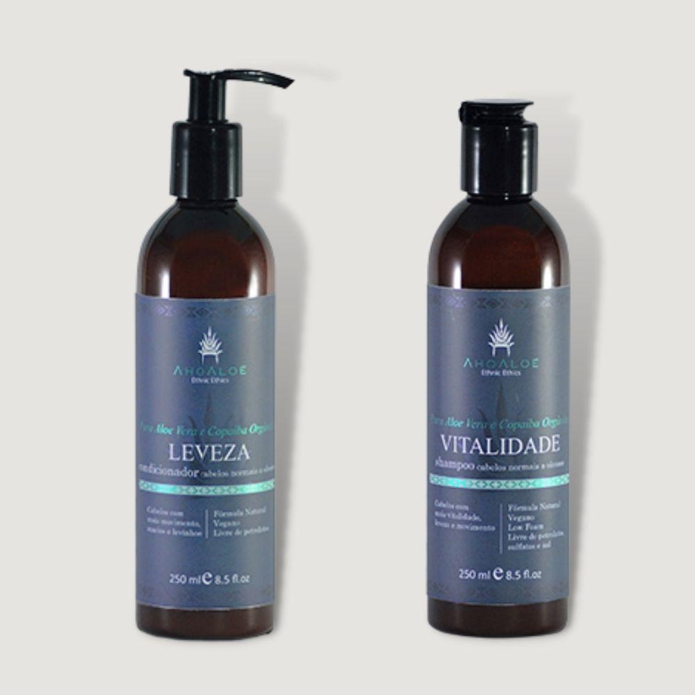 Kit Shampoo e Condicionador Vegano Cabelos Oleosos Ahoaloe