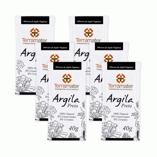 Mascara Argila Preta Orgânica Terramater - Kit 6 pacotes