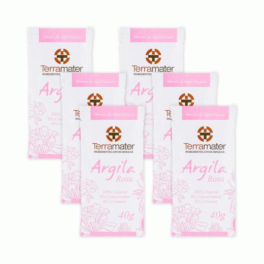 Mascara de Argila Rosa Orgânica Terramater - Kit 6 pacotes