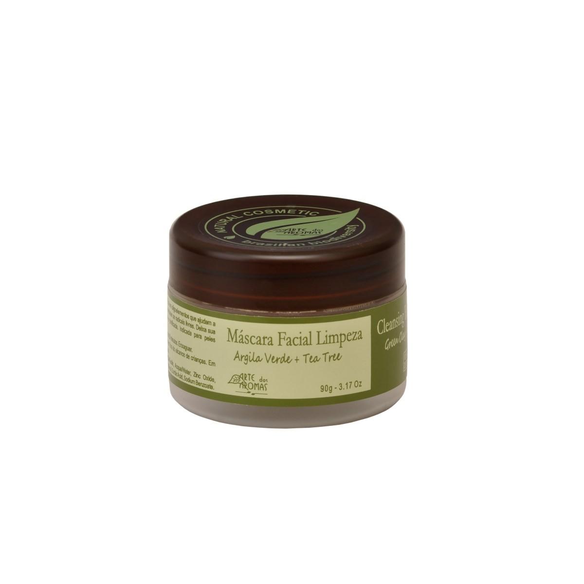 Máscara Facial Natural e Vegana Arte dos Aromas Limpeza Argila Verde e Tea Tree 90g