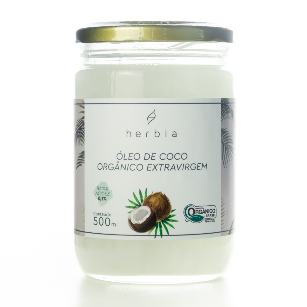 Óleo de Coco Orgânico Extravirgem Herbia 500 ml