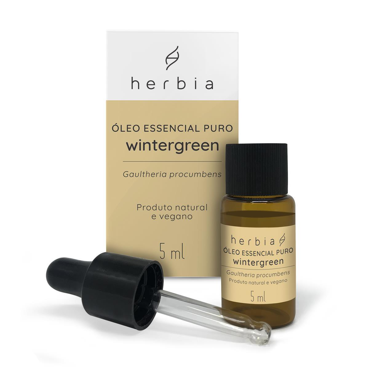 Óleo Essencial Natural de Wintergreen Herbia 5ml