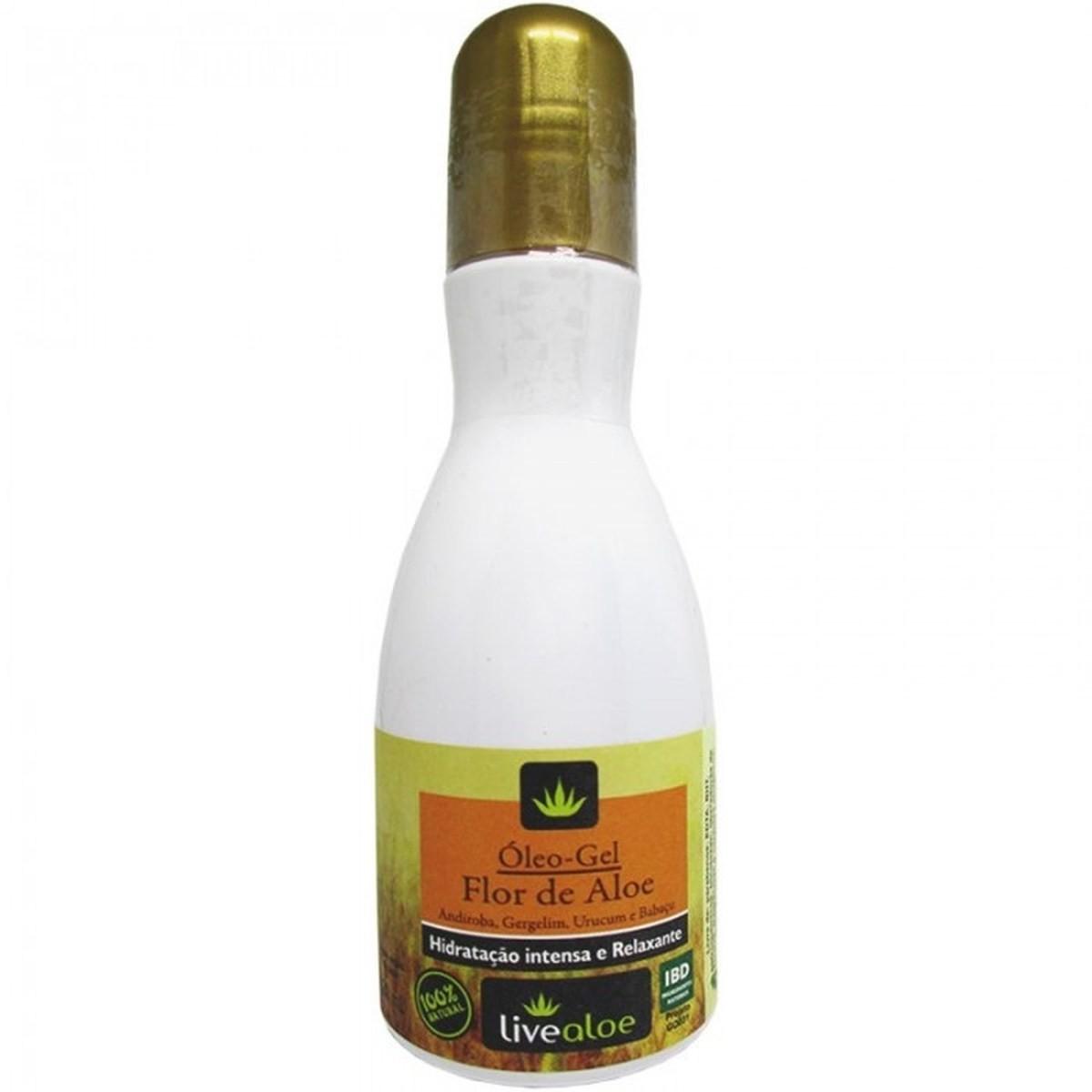 Óleo-Gel Corporal Bifásico Natural e Vegano Flor de Aloe Livealoe 120 ml