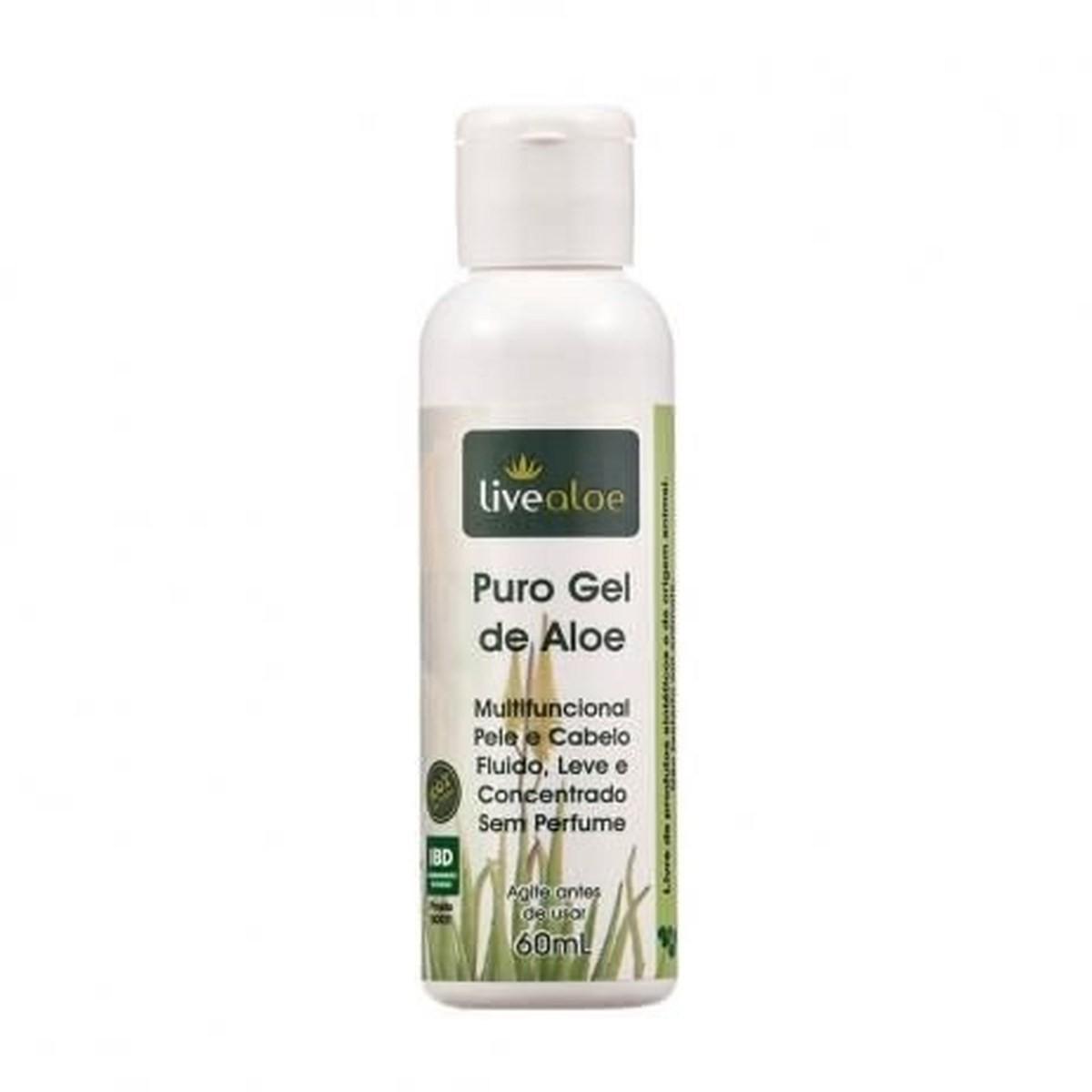 Puro Gel de Aloe Vera Natural e Vegano Livealoe 60 ml