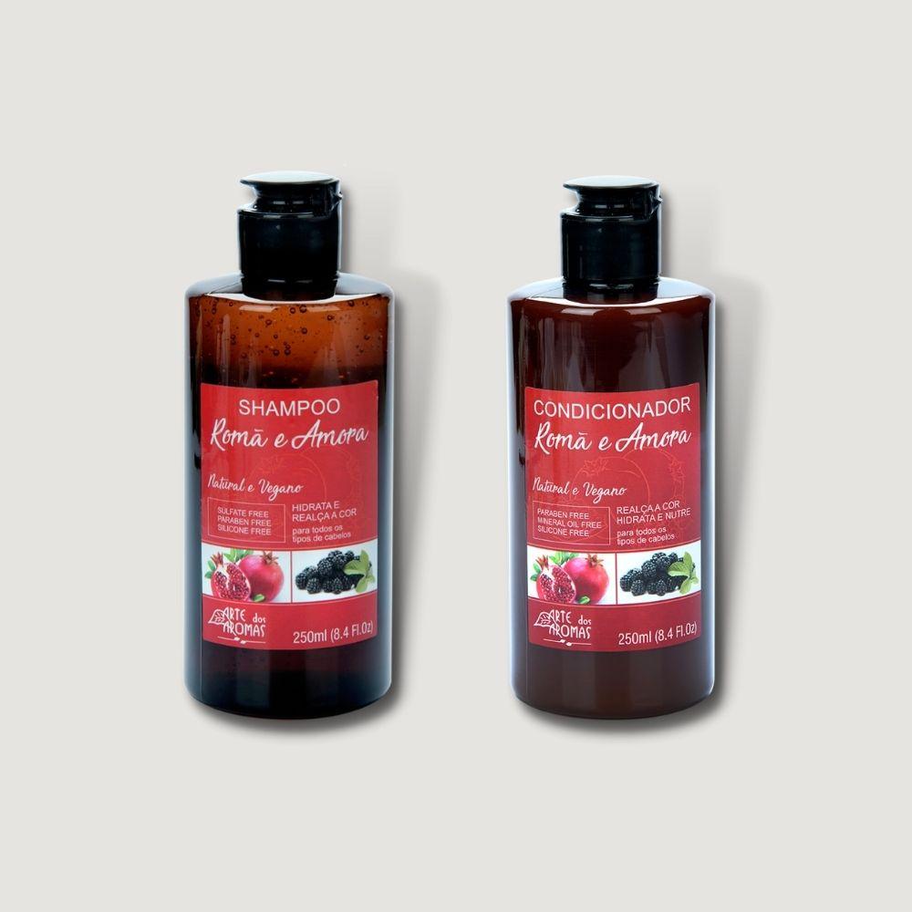 Shampoo e Condicionador Natural Vegano Romã Arte Dos Aroma 250ml