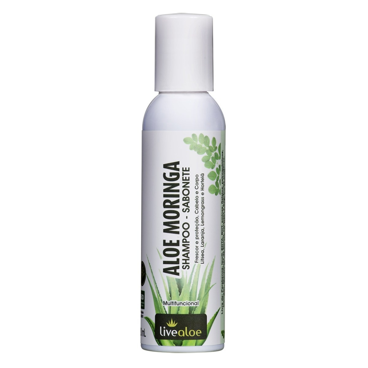 Shampoo 2 em 1 para Corpo, Cabelos e Barba Aloe e Moringa Livealoe 120 ml