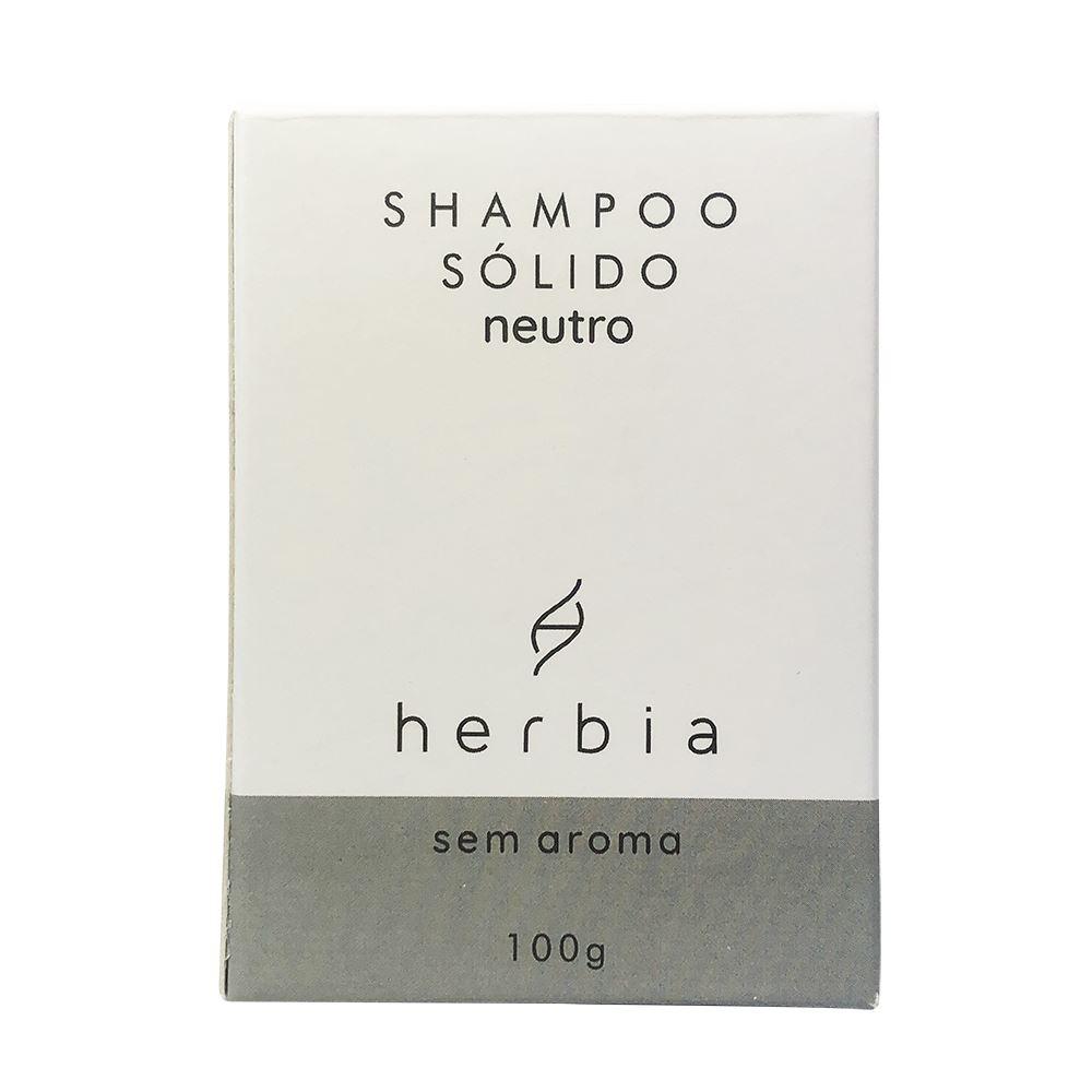 Shampoo Sólido Natural e Vegano Neutro Sem Aroma Herbia 100g