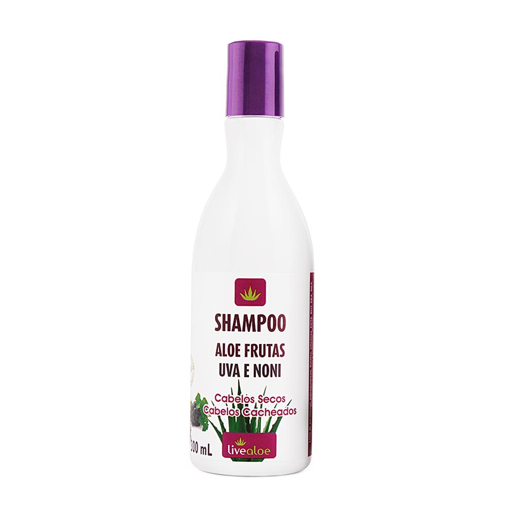 Shampoo Vegano Aloe Frutas Noni e Uva Livealoe 300 ml